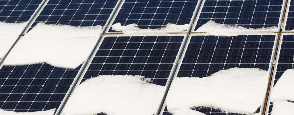 Solar Panels with Snow in Winter